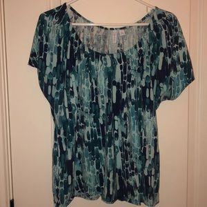 Multi blue short sleeve shirt
